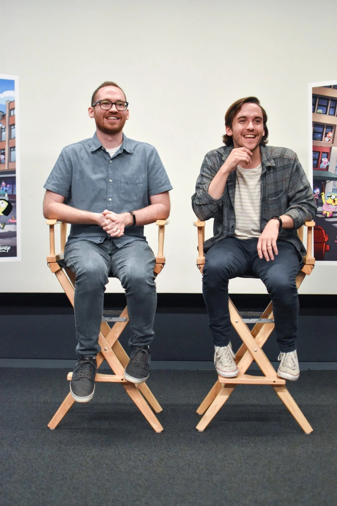Chris and Shane Houghton sitting at interview with bloggers answering questions after screening. Big City Greens premieres June 18 at 9:30 a.m. on Disney Channel, DisneyNOW, and Disney Channel VOD.