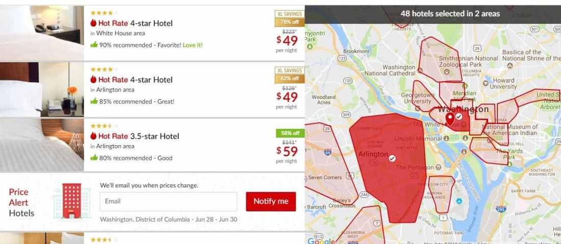 Hotwire $49 Promotion Screen Shot Map Menu. Hotwire is offering luxury 4 and 5-star hotels for just $49 is truly an incredible deal which won't last long, so travelers need to act fast to feel the Hotwire Effect.