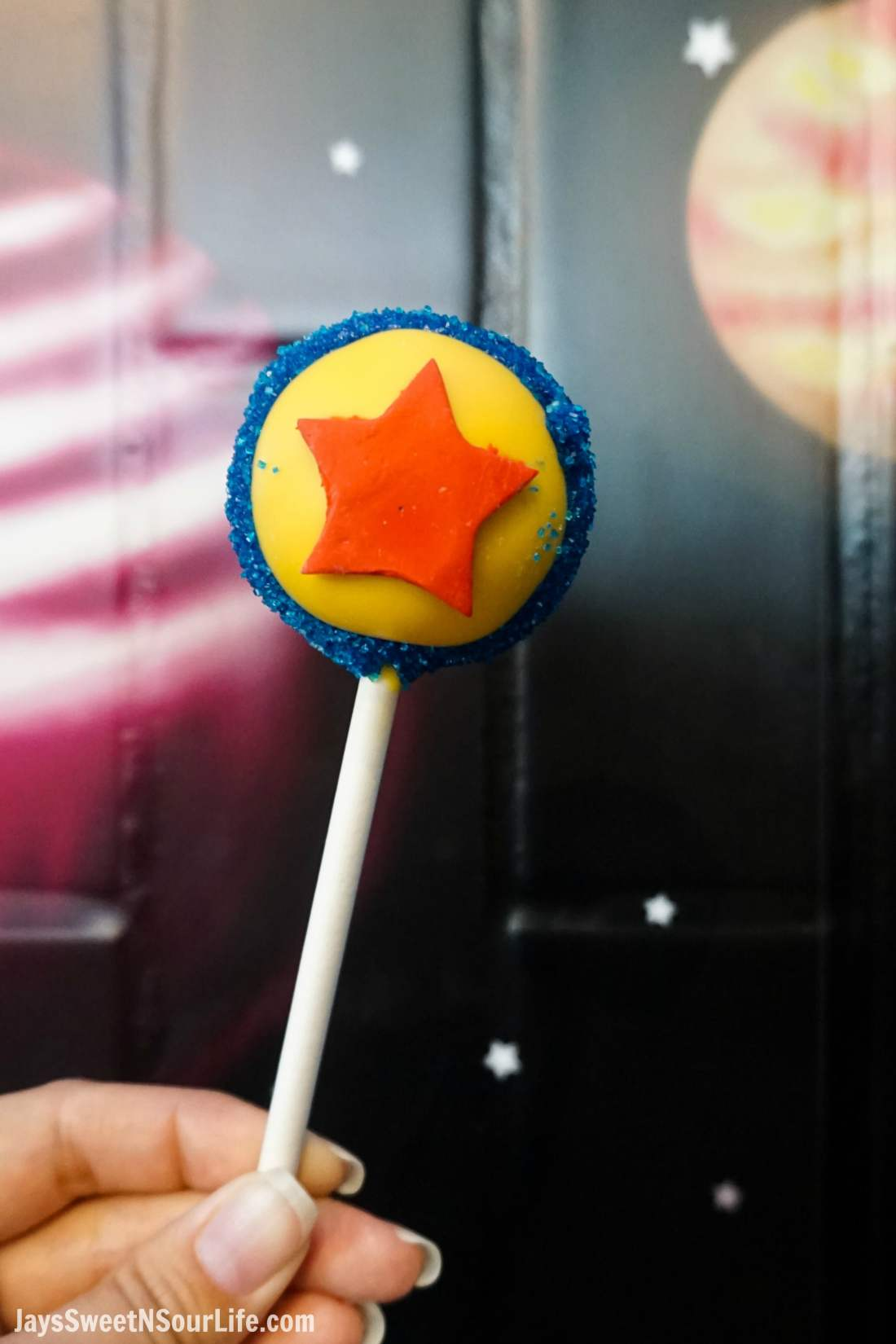 Pixar Fest Pixar Ball Cake Pop. Pixar Fest at Disneyland runs from April 13 through September 3rd.