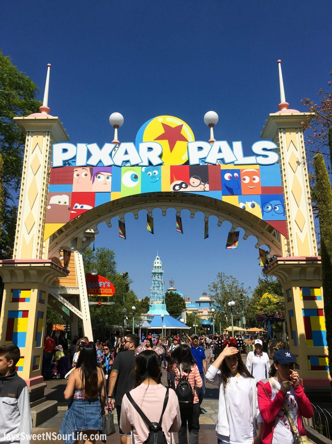 Pixar Fest Pixar Pals Entrance. Pixar Fest at Disneyland runs from April 13 through September 3rd.