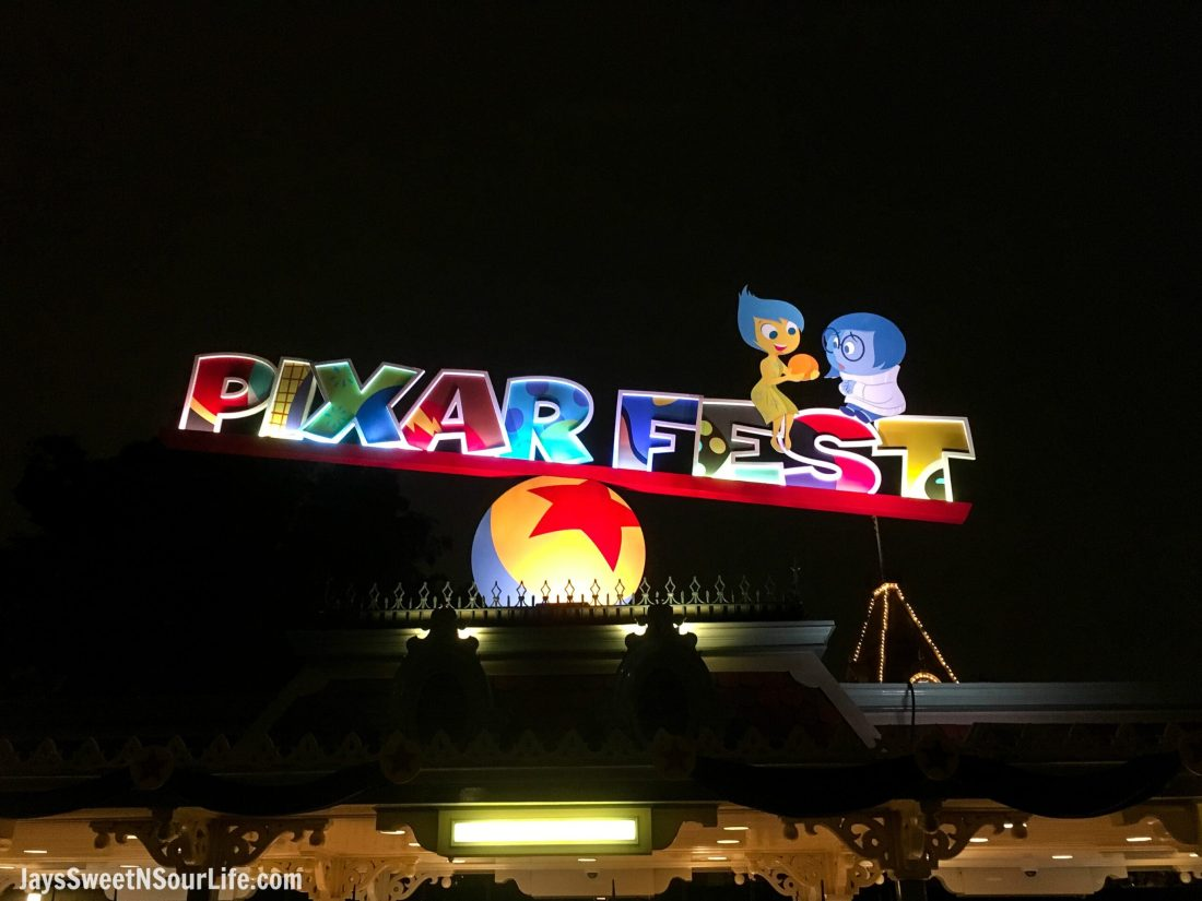 Pixar Fest Sign At Nighttime in Disneyland California. Pixar Fest at Disneyland runs from April 13 through September 3rd.