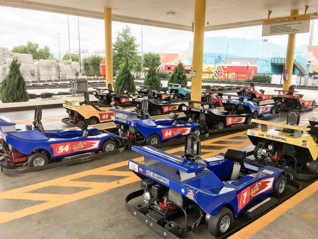 SpeedPark - Visit Cabarrus County Go Karts Lined Up. Read more about our Racing Good Time at The Speedpark in Concord Mills North Carolina.