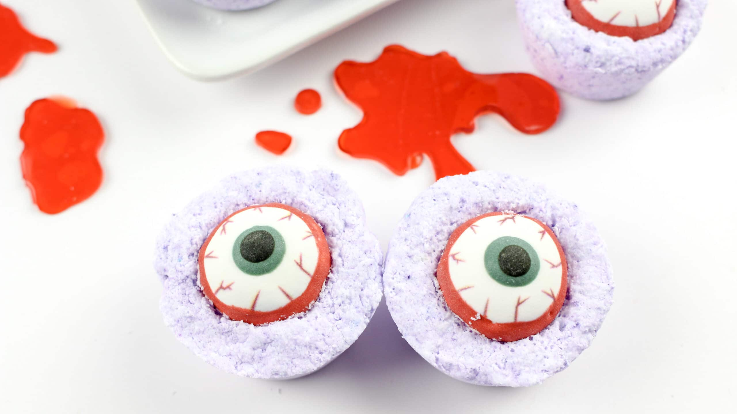 Pair of Zombie Eyes Bath Bombs. Create your very own DIY Zombie Eyes Bath Bombs.