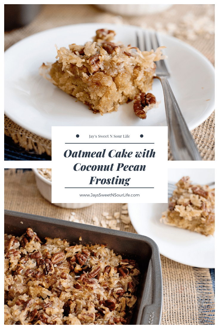 Oatmeal Cake with Coconut Pecan Frosting. Try this healthy alternative to Pecan Pie and taste my delicious Oatmeal Cake with Coconut Pecan Frosting. Easy to make and oh so delicious.