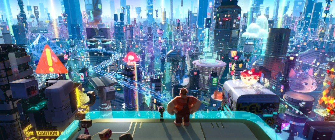 Vanellope von Schweetz and Wreck-It Ralph leave the arcade world behind to explore the uncharted and thrilling world of the internet. In this image, Vanellope and Ralph have a breathtaking view of the world wide web, a seemingly never-ending metropolis filled with websites, apps and social media networks.