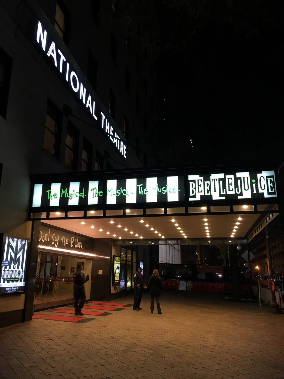 Beetlejuice The Musical National Theater DC. Beetlejuice The Musical will be showing at the National Theater in DC Now till Nov 18, 2018. Follow this Raunchy humorous musical as you explore the world of Beetlejuice even deeper than the previous movie showed.