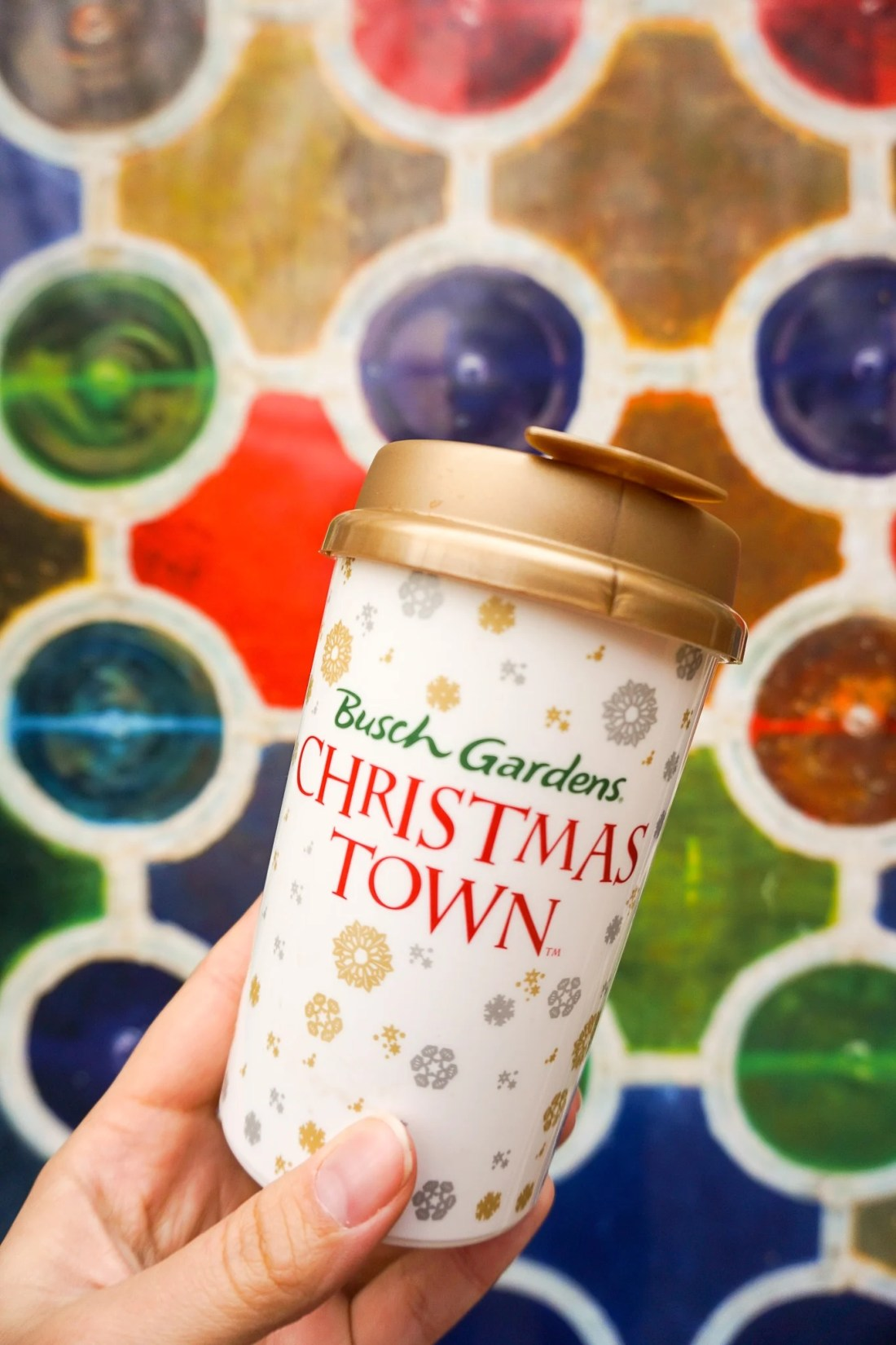 Hot Chocolate Suvinor Cup 15 Instagram Worthy Walls Christmas Town Busch Gardens. Instagram Worthy Walls and Locations around Busch Gardens Christmas Town in Williamsburg Virginia.