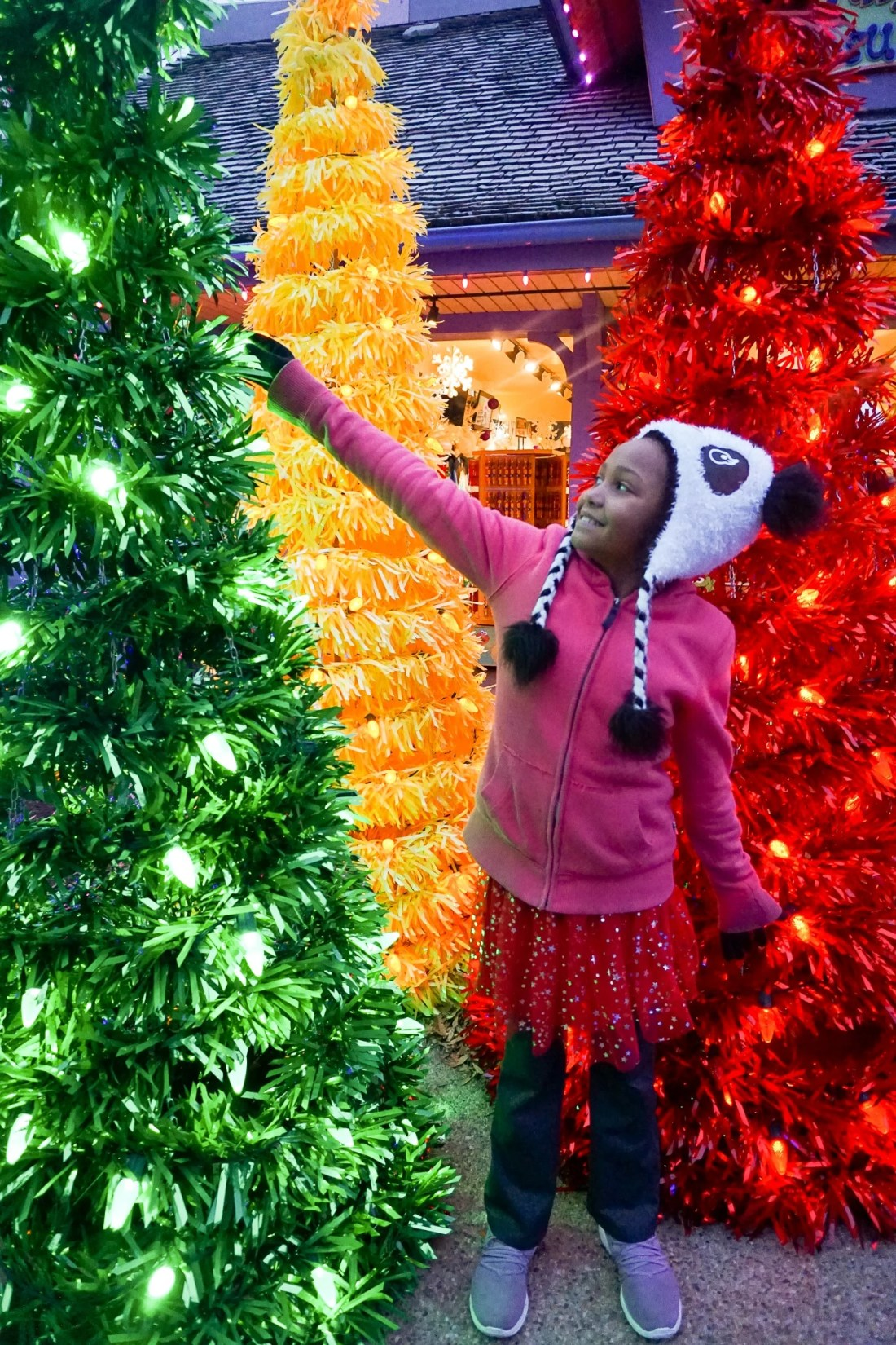 Elmos World Chritsmas Trees 15 Instagram Worthy Walls Christmas Town Busch Gardens. Instagram Worthy Walls and Locations around Busch Gardens Christmas Town in Williamsburg Virginia.