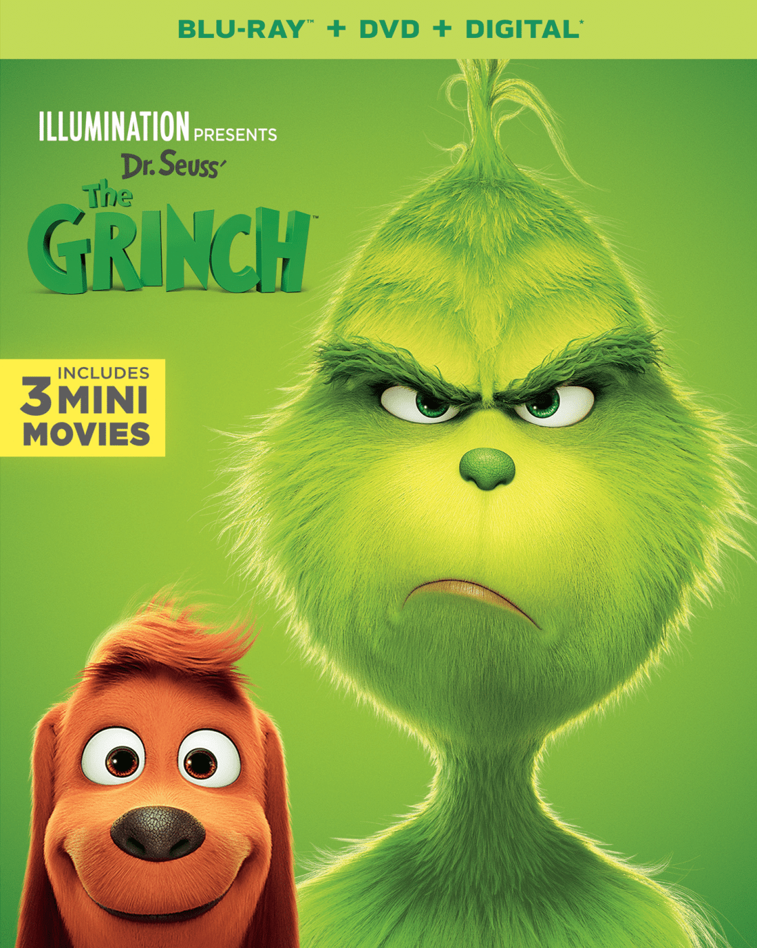 Universal Pictures Home Entertainment's Dr. Seuss' The Grinch Bluray Cover. Universal Pictures Home Entertainment's Dr. Seuss' The Grinch will be available on Digital January 22, and on Bluray February 5, 2019. Learn More!