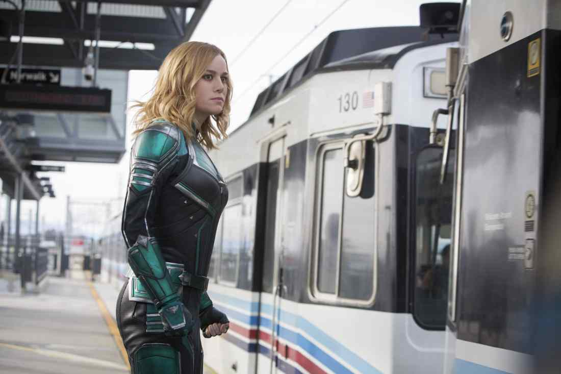 Marvel Studios Captain Marvel In Train Station. Set in the 1990s, Marvel Studios' CAPTAIN MARVEL is an all-new adventure from a previously unseen period in the history of the Marvel Cinematic Universe that follows the journey of Carol Danvers as she becomes one of the universe's most powerful heroes.