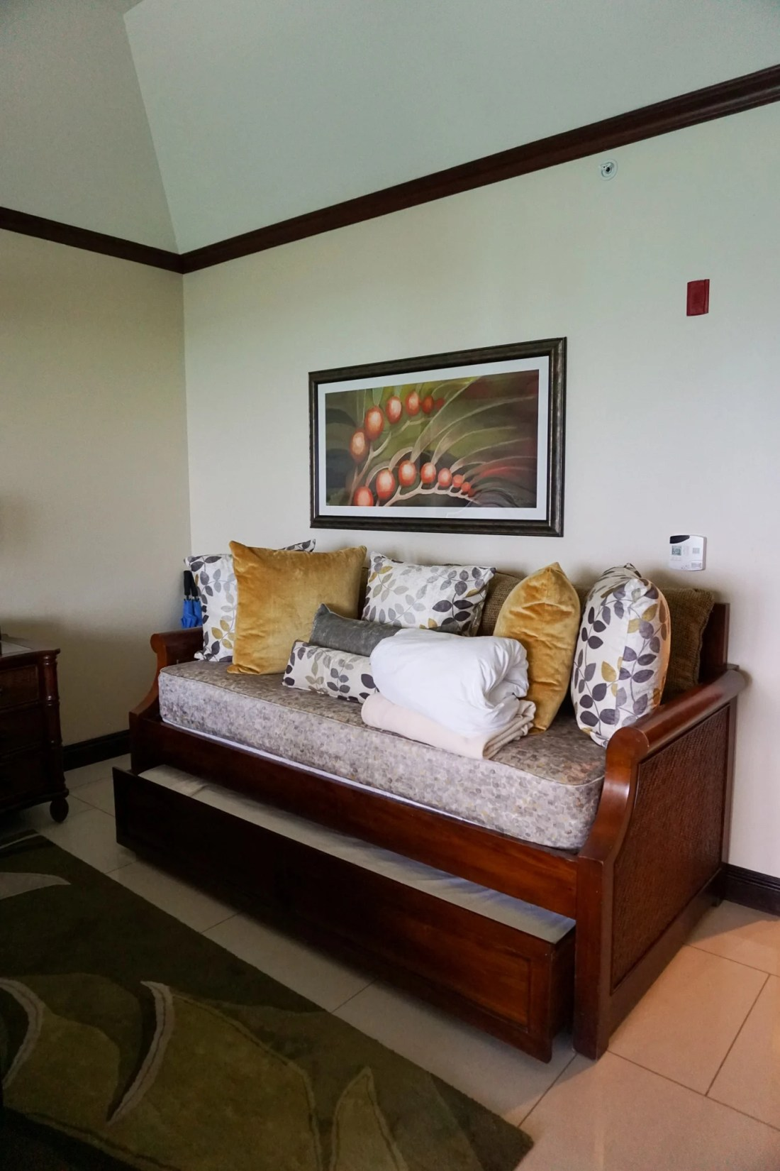 Oceanfront Family Suite Beaches Resorts in Turks and Caicos Day bed with trundle.Paradise does exist, and it's only a plane ride away. Take a look inside our suite in this Oceanfront Family Suite Room Tour at Beaches Resorts in Turks and Caicos.
