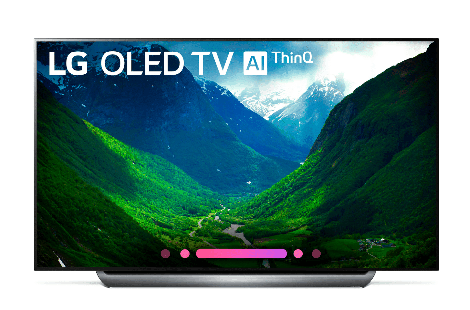 77-inch LG OLED C8 Front View. Bring the movie theater experience home with this 77-inch LG OLED television. Its advanced HDR enhances each scene to 4K quality, and its Intelligent Processor maximizes picture quality by producing images with rich colors, sharpness and depth.