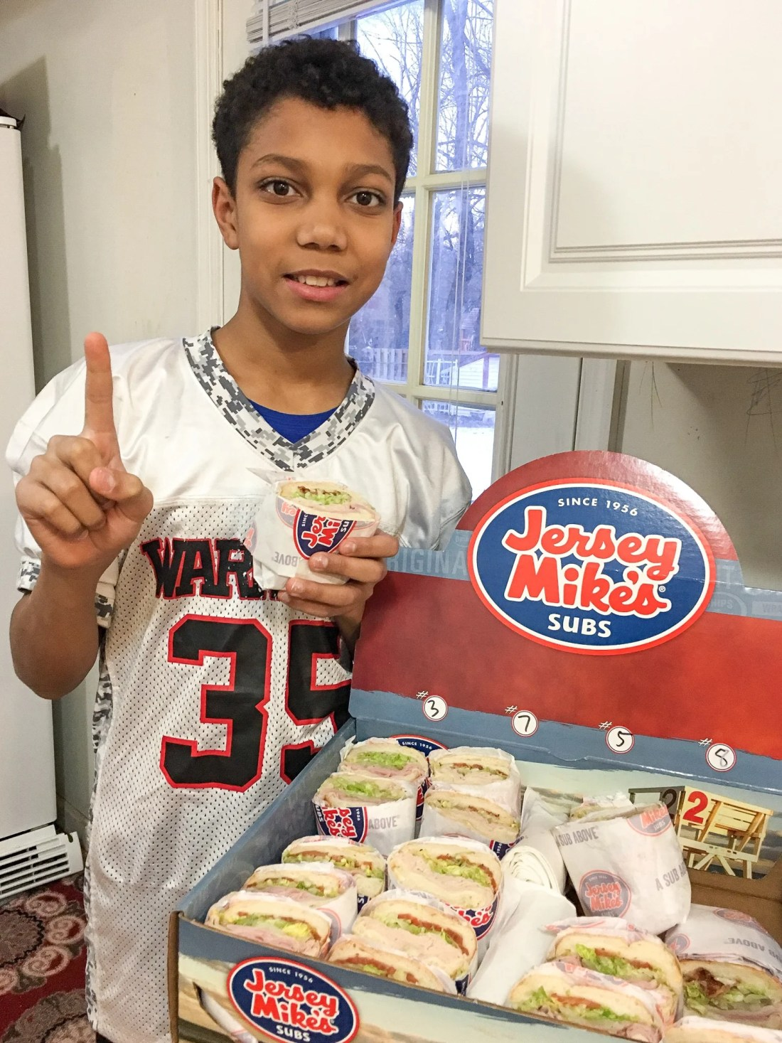 Number 1 Jersey Mikes Catering Sub Box. Stop stressing about what everyone will be eating on the Big Game Day. Take advantage of some awesome No-Cook Easy Game Day Snack Idea's on the blog now.
