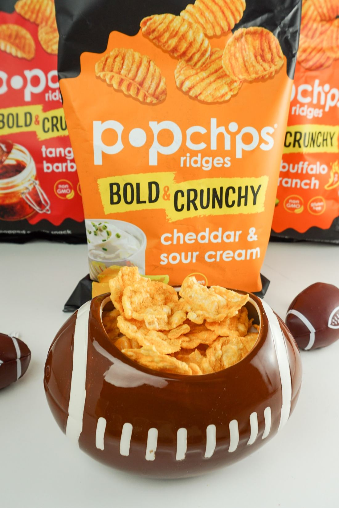 Popchips Cheddar and Sour Cream. Stop stressing about what everyone will be eating on the Big Game Day. Take advantage of some awesome No-Cook Easy Game Day Snack Idea's on the blog now.