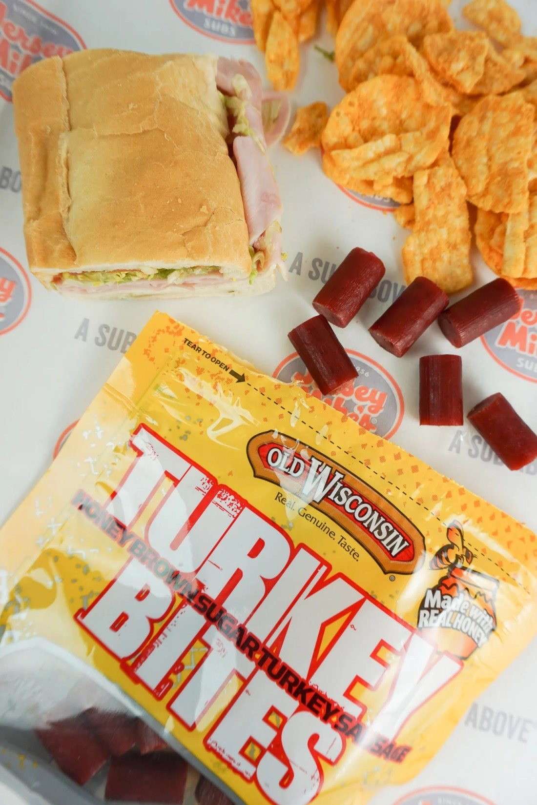 Old Wisconsin Turkey Bites Open Sub Closeup. Stop stressing about what everyone will be eating on the Big Game Day. Take advantage of some awesome No-Cook Easy Game Day Snack Idea's on the blog now.