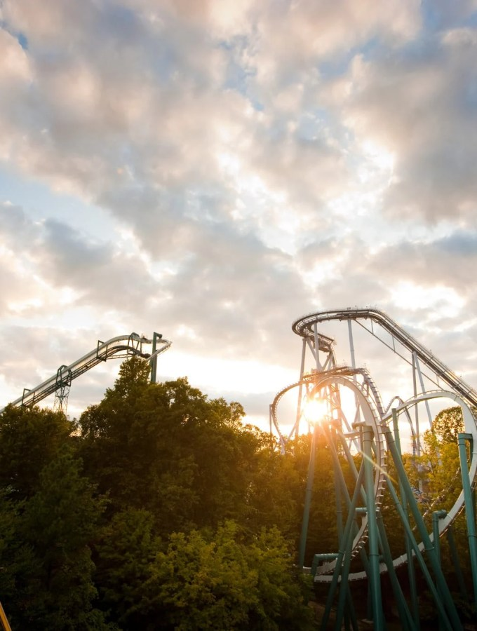 Busch Gardens Williamsburg Coasters Sunset photo.