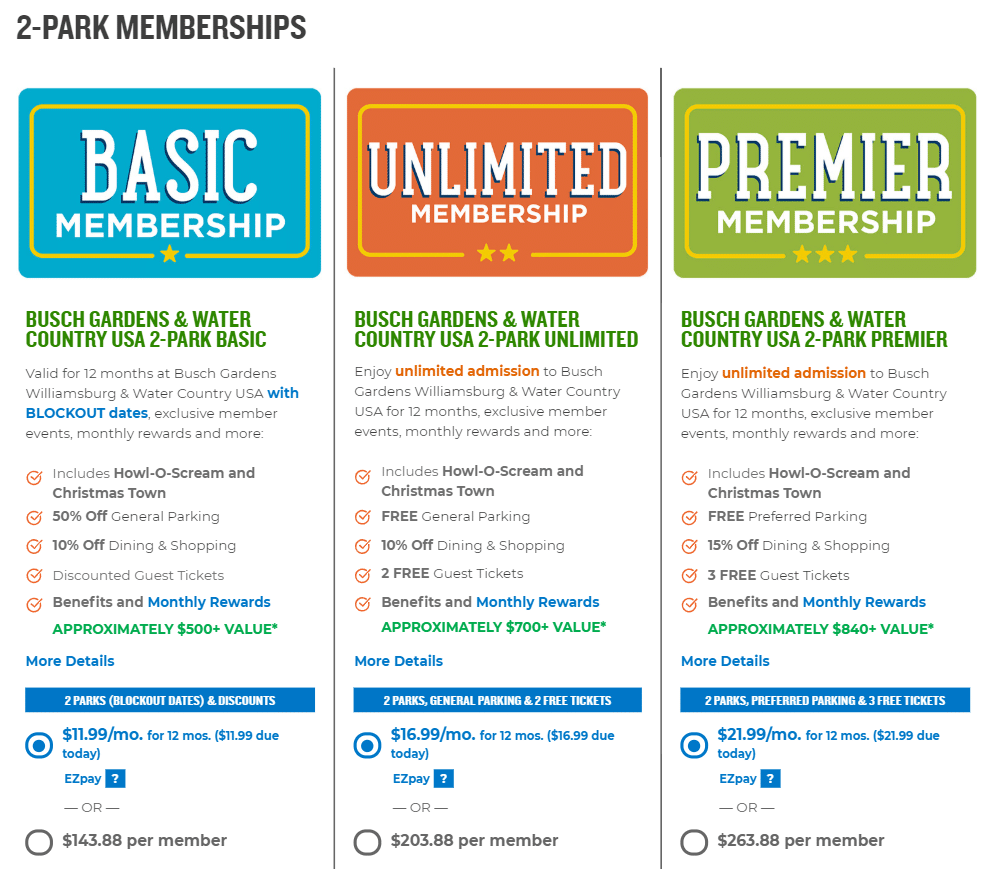Busch Gardens 2 Park Memberships. Busch Gardens Annual Pass Holders are using a new Membership Program. They offer affordable membership's that the whole family can enjoy.