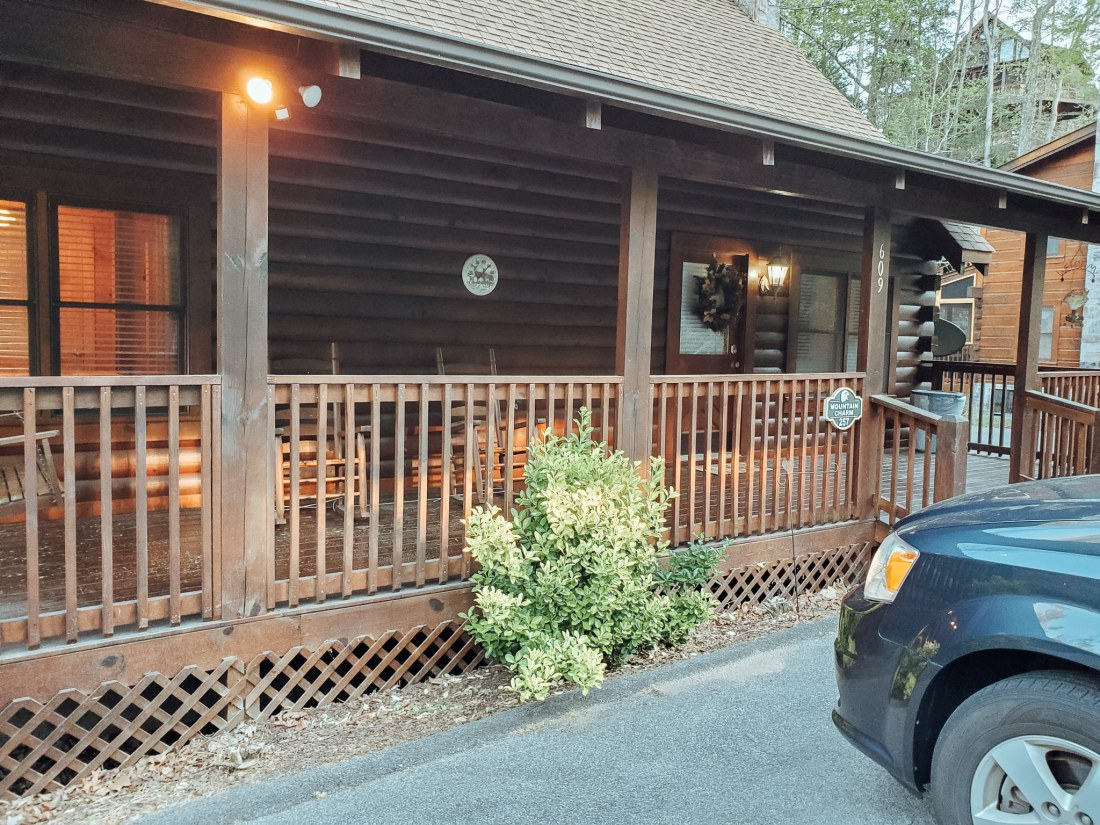 The Mountain Charm Eagles Ridge Resorts Cabin Entrance. The Mountain Charm 3 Bedroom Cabin at Eagles Ridge Resort offers ample space and luxury. The perfect place to stay during a family vacation to Pigeon Forge, TN.
