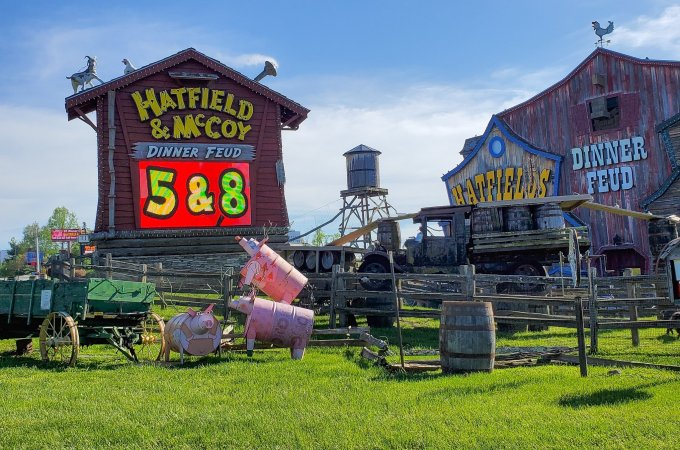 Hatfield and McCoy Family Feud Dinner Show Sign. Nothing says entertainment like a good family feud in the Hatfield & McCoy Dinner Show. Laugh until your sides hurt in this hilarious show that offers an all you can eat southern style cooking dinner.