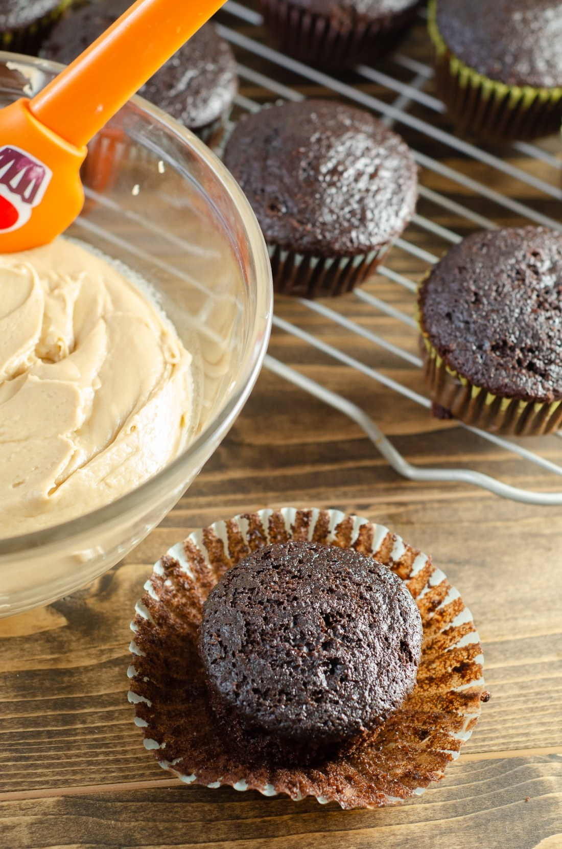 Super Moist Chocolate Cupcakes From Scratch Salted Caramel Frosting Ready. Celebrate any occasion with these decadent Super Moist Chocolate Cupcakes From Scratch with Salted Caramel Frosting and Caramel Filled Center. This homemade recipe is so easy to create, the kids can join in.