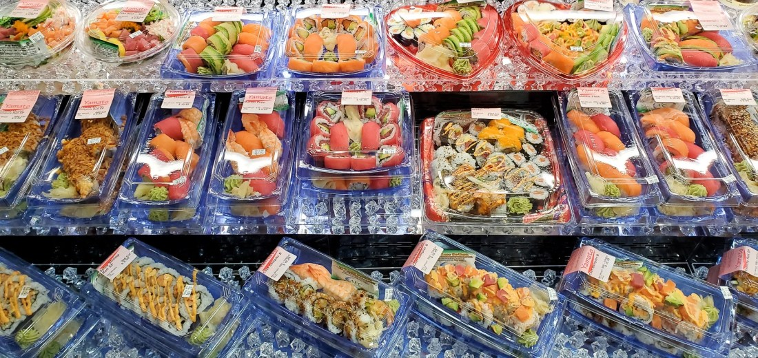 Harris Teeter Sushi. If your family is as busy as mine, then the Fresh Foods Market is a great place for you to grab freshly made meals and snacks. There is something for the whole family in this section, everything from Store-made Pizza to hand-rolled sushi.