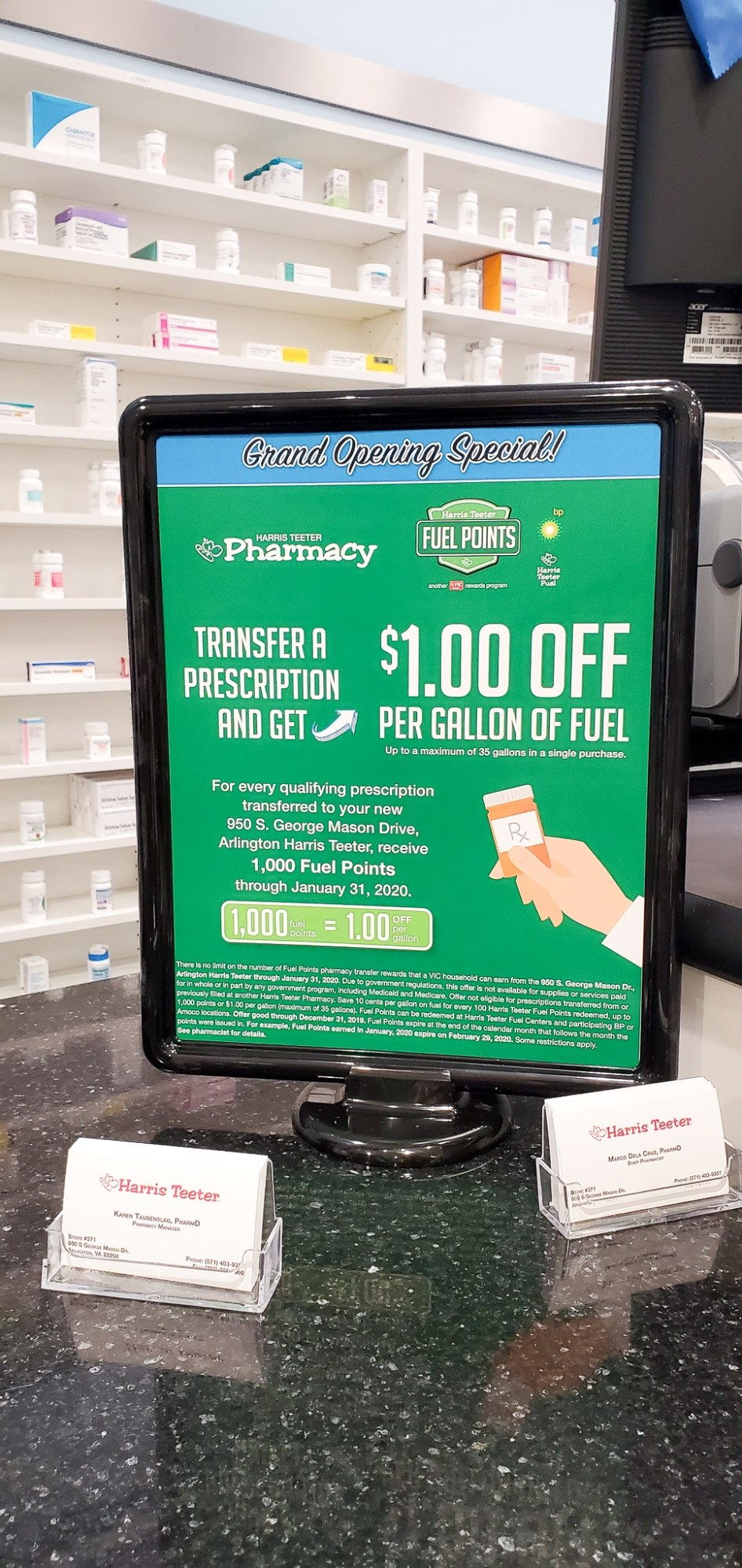 Perscription Transfer Fuel Points Harris Teeter. Happening right now at your local Harris Teeter. Transfer any of your perscriptions to the Harris Teeter Pharmacy to earn $1.00 off per gallon of guel at participating gas stations.