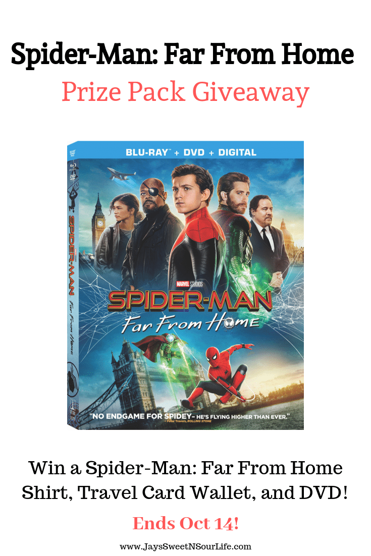 I am hosting a special giveaway on my blog! Enter to win in my Spider-Man: Far From Giveaway. Win a Home shirt, a travel card wallet, and DVD.