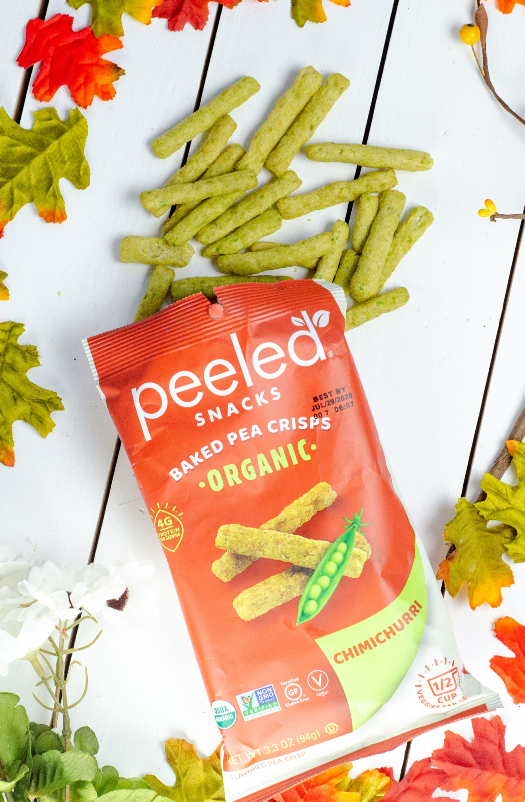 Peeled Chimichurri Baked Pea Crisps. Gift your hostess a Thanksgiving themed box of goodies. Gift them products they can use on Thanksgiving Day as well as after.