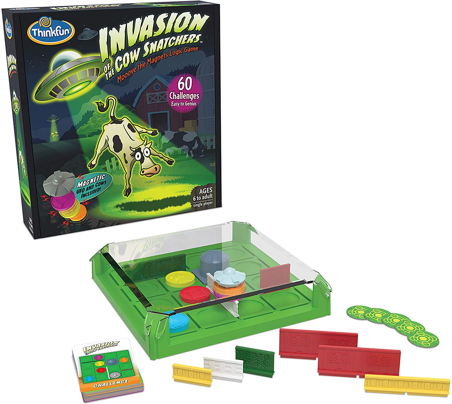 Invasion of the Cow Snatchers is one of ThinkFun's most fun new stem toys for boys and girls. It's a fun magnet maze logic game that comes with 60 challenges of increasing difficulty, from beginner to expert, and is one of the best gifts you can buy for kids who like smart games and a challenge.