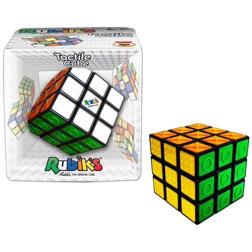 Rubik's Tactile Cube. This 3x3x3 Rubik's Cube has been enhanced with embossed shapes! By adding shapes to the colored sides of the cube, the Rubik's Tactile Cube is now playable (and solvable!) with your eyes closed!
