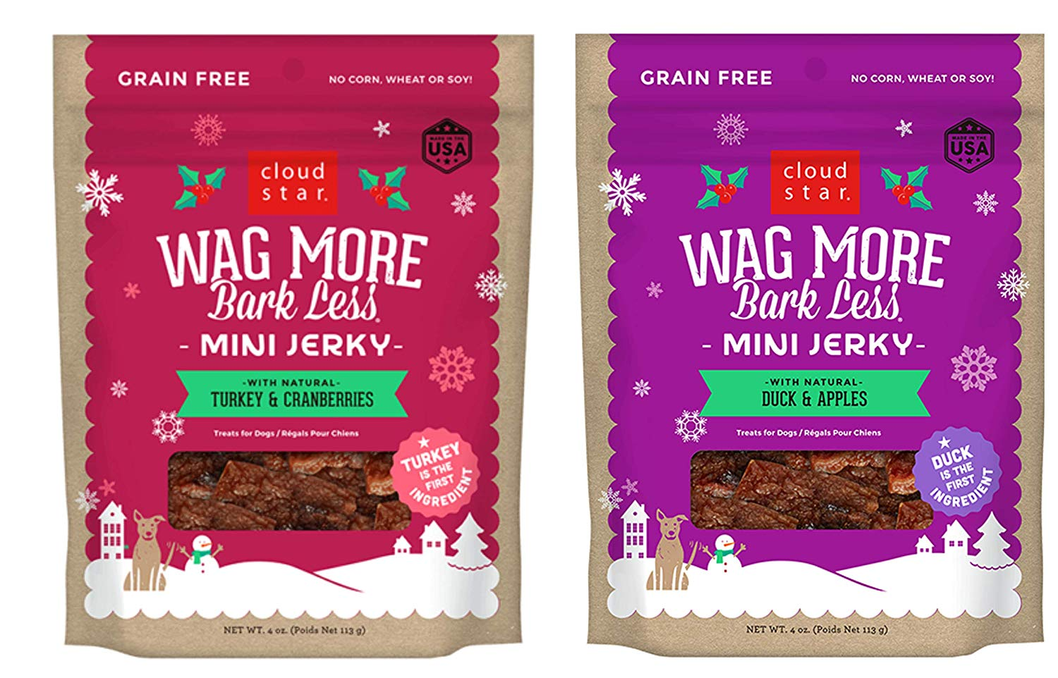 Cloud Star Wag More Bark Less Holiday Mini Jerky Treats for Dogs in 2 Flavors: (1) Turkey & Cranberries and (1) Duck & Apples (2 Bags Total, 4 Ounces Each) Plus Silicone Can Cover. Delicious Meat & Fruit Combinations No Grain, Gluten Corn, Soy or Artificial Flavors and Colors Made in the USA Mini-Sized, Great for All Dogs.
