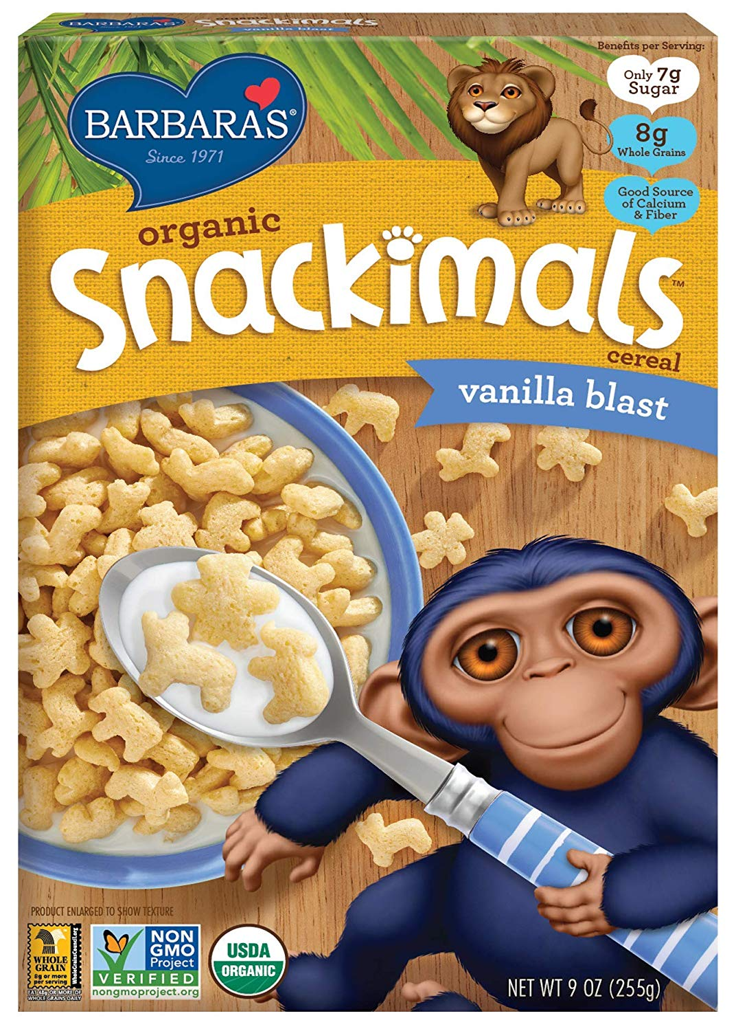 Snackimals Vanilla Blast Cereal. All kids will love munching on this lightly sweetened, USDA Organic and Non-GMO Project Verified crunchy cereal with fun animal shapes, including lions, elephants and panda bears! Perfect for kids' stockings to enjoy immediately!