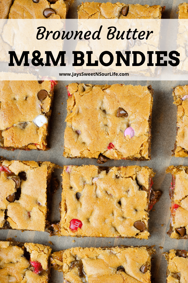 Browned Butter Chocolate Chip M&M Blondies Recipe. These Valentine's day themed Browned Butter M&M Blondies are the perfect way to say I heart you to someone special. I love to bake them for my little ones year-round. They are so chewy and chocolatey they make it easy for me to look like a master dessert chef