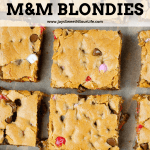 Brown Butter Chocolate Chip M&M Blondies Recipe. These Valentine's day themed Brown Butter M&M Blondies are an easy and simple dessert recipe. Made with brown butter, these soft and chewy blondie brownies are stuffed with M&M's and chocolate chips.
