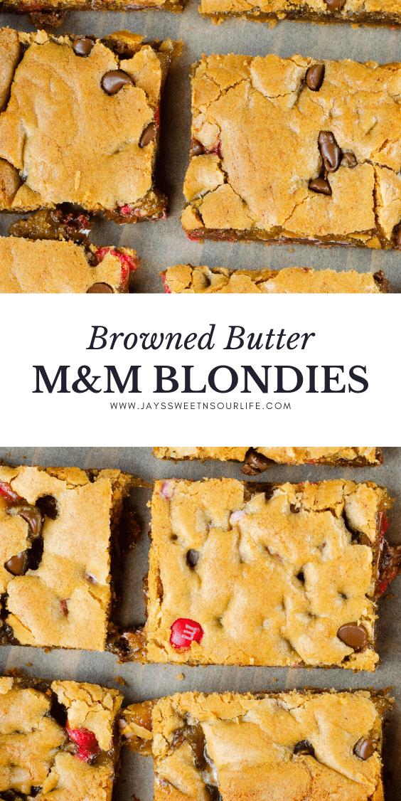 Browned Butter M&M Blondies. These Valentine's day themed Browned Butter M&M Blondies are the perfect way to say I heart you to someone special. I love to bake them for my little ones year-round. They are so chewy and chocolatey they make it easy for me to look like a master dessert chef
