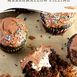 Chocolate Cupcakes with Marshmallow Filling. Sink your teeth into a childhood favorite cupcake that is as easy to bake as it is to eat. My Chocolate cupcakes with Chocolate Buttercream frosting and marshmallow creme filling will make the kid in you cheer.