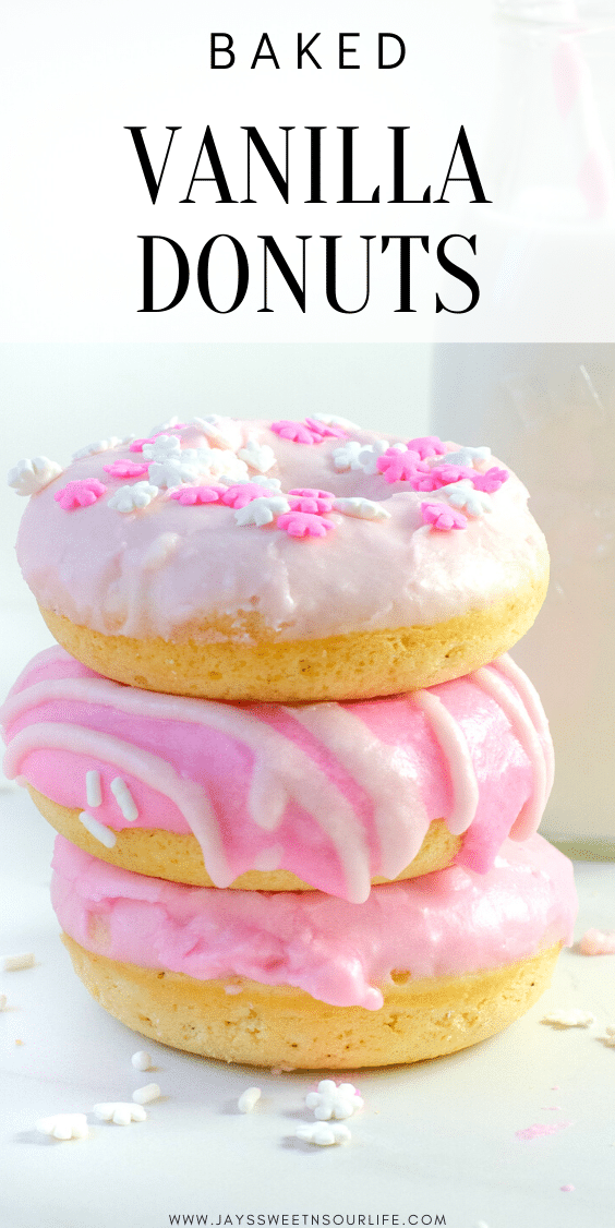 Baked Vanilla Donuts are perfect for any occasion, Valentine's Day treats or birthday sweets, the possibilities are endless.
