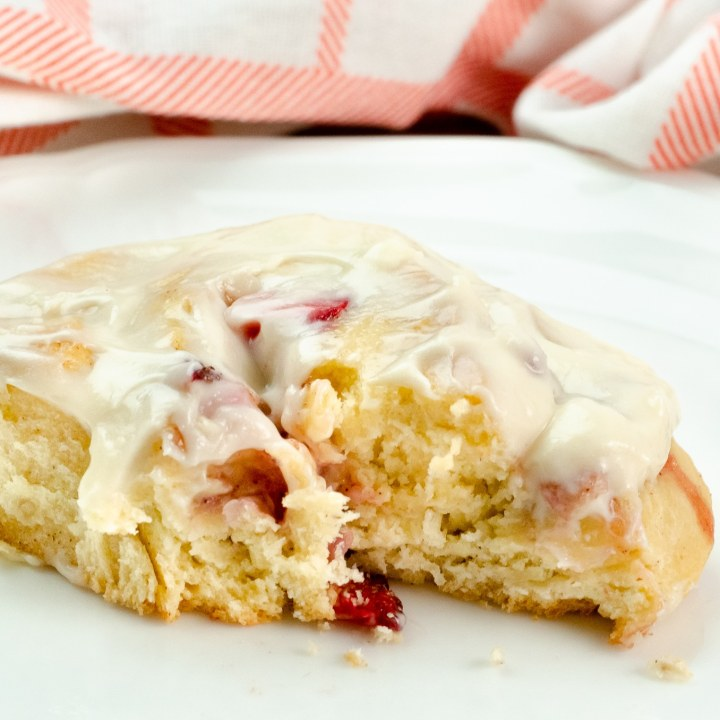 Strawberry Cinnamon Rolls with Cream Cheese Frosting