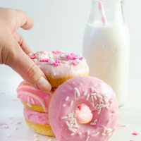 Baked Vanilla Donuts Mom. Baked Vanilla Donuts are perfect for any occasion, Valentine's Day treats or birthday sweets, the possibilities are endless.