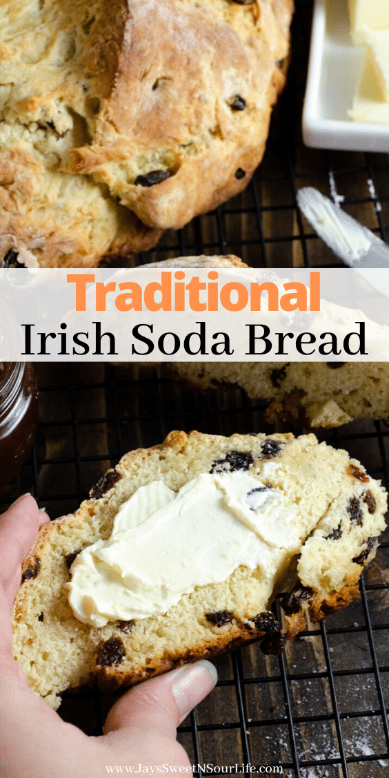 Easy Traditional Irish Soda Bread. This Irish Soda Bread is a traditional quick and easy bread recipe that includes raisins. Also known as a quick bread, It's a no yeast bread recipe that will take over your home with the sweet smell of fresh-baked bread. Bake this Easy Traditional Irish Soda Bread in your favorite cast iron pan and serve with butter or your favorite jam.