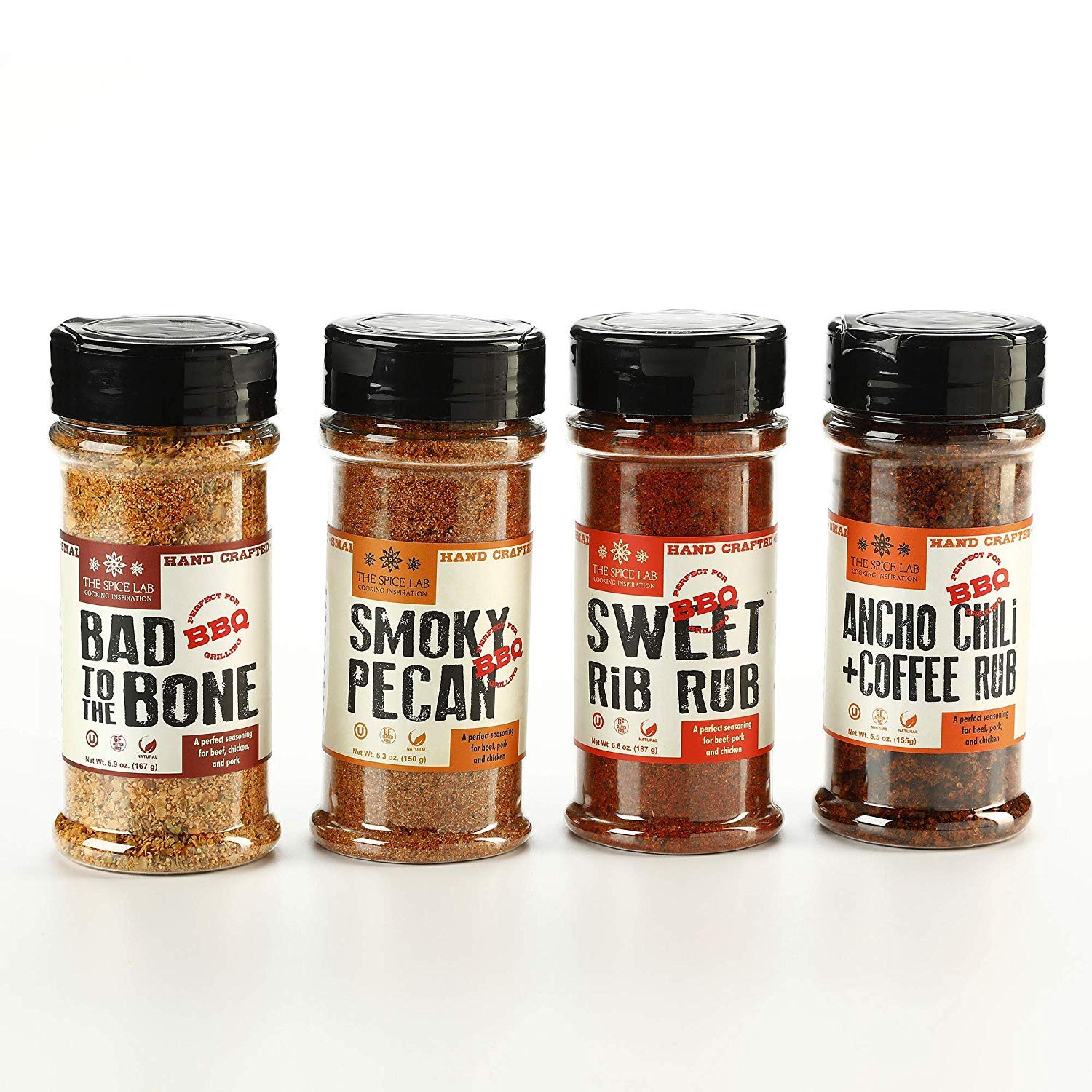 The Spice Lab BBQ Barbecue Spices and Seasonings Set. Bad to the Bone, Sweet Rib Rub, Smokey Pecan Rib Rub and Ancho Chili & Coffee. The hit of any bbq party, enjoy premium bbq seasoning blends with so much value packed into one gift collection. 2020 Valentine's Day Gift Guide from Jays Sweet N Sour Life Blog.