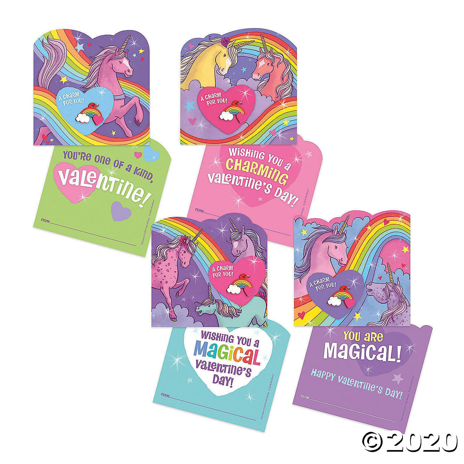 Rainbow Charm Unicorn Super Fun Valentine Pack. These adorable unicorn cards include a rainbow charm keepsake! Three unique designs create this pack of 28 specialty cards, 28 rainbow charms, and 28 envelopes. 2020 Valentine's Day Gift Guide from Jays Sweet N Sour Life Blog.
