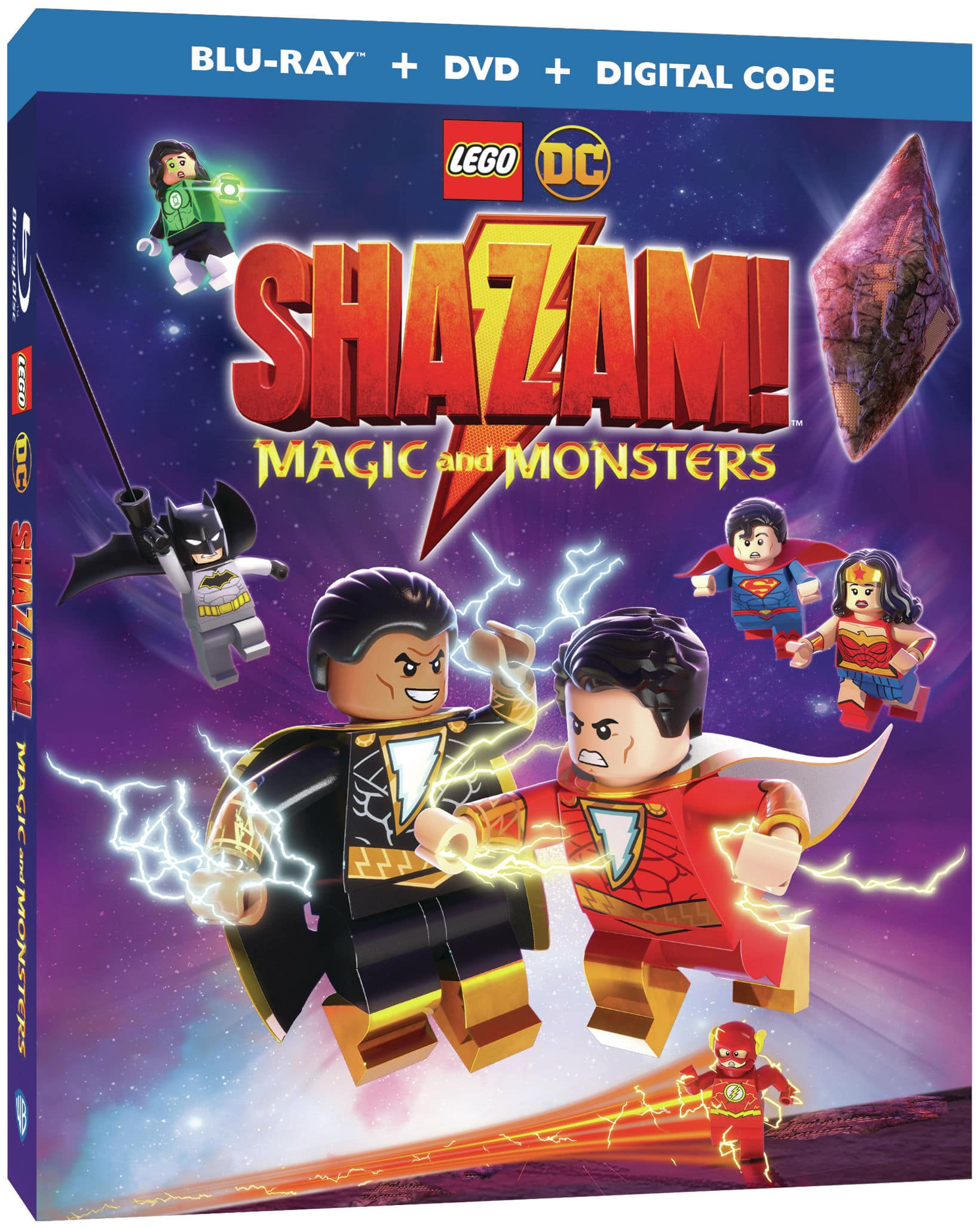 LEGO® DC: Shazam! Magic and Monsters. 10-year-old Billy Batson shouts a single word and, with lightning bolts flashing, he transforms into Shazam!, a full-fledged adult Super Hero. It doesn't take long for Superman, Wonder Woman, Batman and the rest of the Justice League to take notice and invite the earnest do-gooder to join the team.