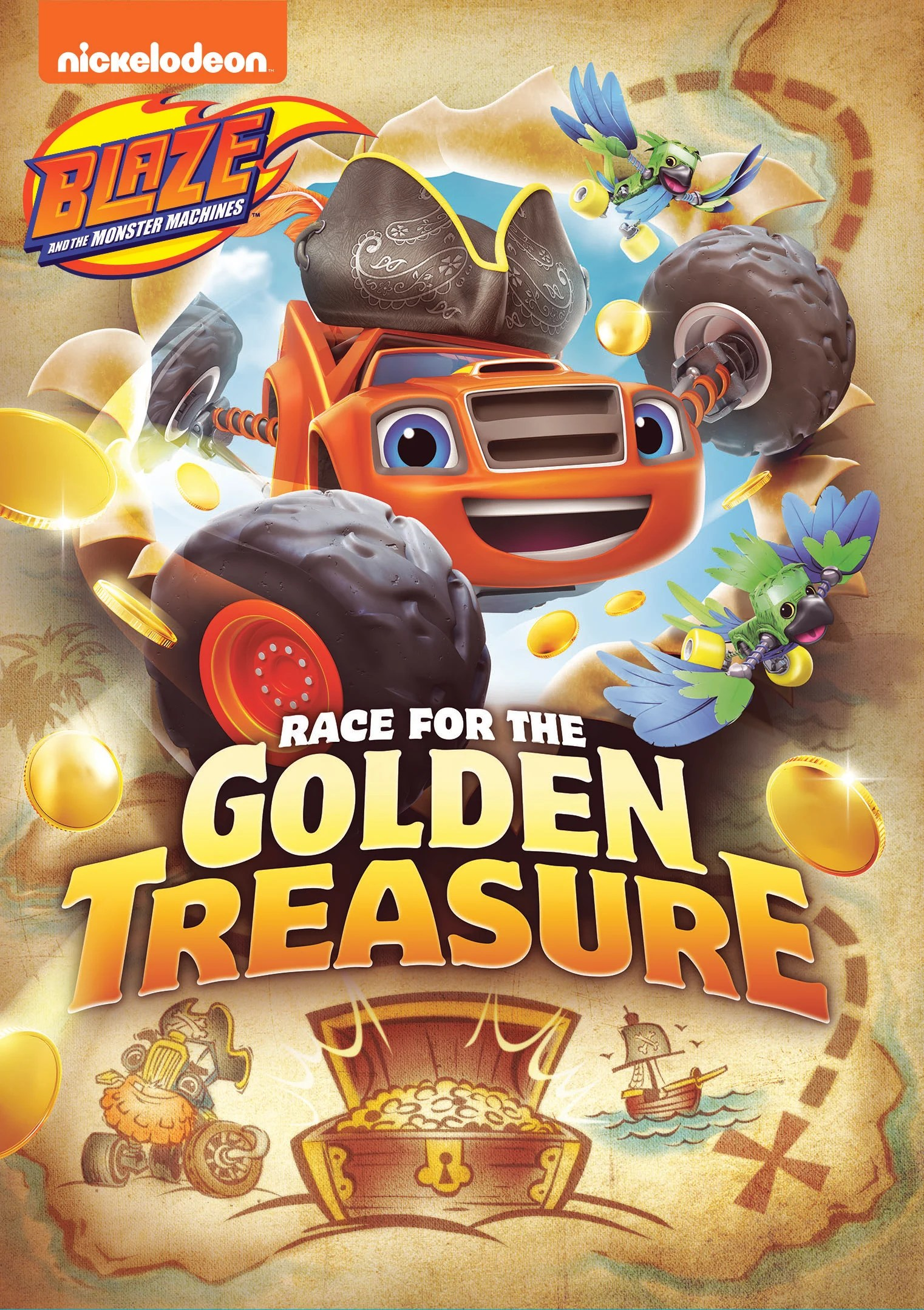 Blaze and the Monster Machines are speeding back onto DVD for all-new high-speed, high seas adventures in Blaze and the Monster Machines: Race for the Golden Treasure! Arriving on July 28, 2020, preschoolers can race along with Blaze and his friends as they embark on epic action-packed treasure hunts.