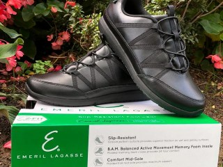 Emerils Footwear Miro. Step into a new pair of Chef Emeril Lagasse's work footwear, designed to be kicked up a notch. These specially designed shoes that Emeril Lagasse created with culinary and restaurant staff in mind, provide a safe workforce shoe that is suitable for an array of different professions.