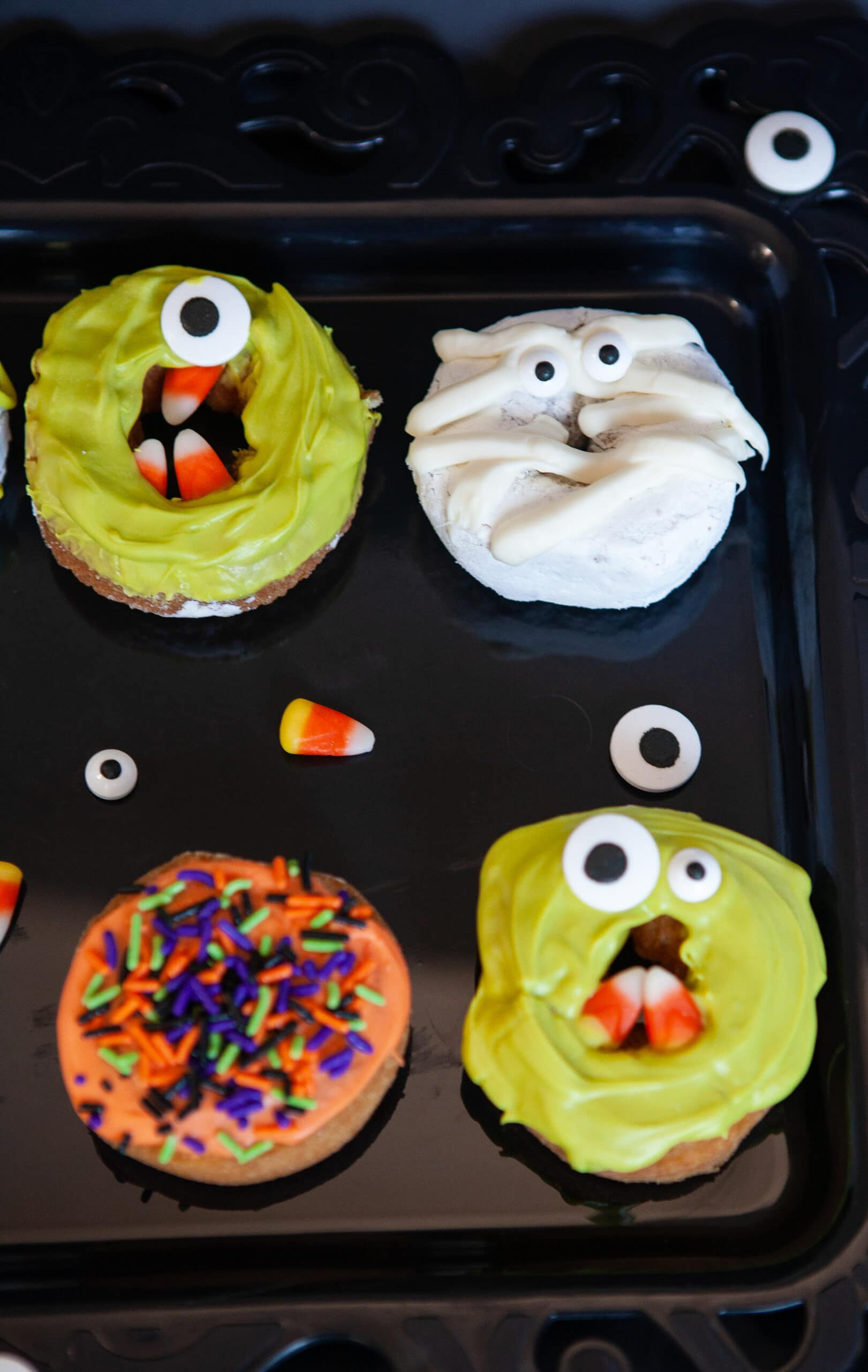 Monster Donuts Monster. Make these spooky cute Monster Donuts for your next Halloween event. Made with your favorite donuts as a base, you can create and decorate vampires, mummies, and other iconic edible Halloween monsters.