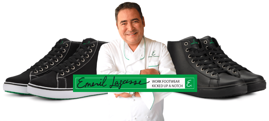 Emeril's Footwear. Step into a new pair of Chef Emeril Lagasse's work footwear, designed to be kicked up a notch. These specially designed shoes that Emeril Lagasse created with culinary and restaurant staff in mind, provide a safe workforce shoe that is suitable for an array of different professions.
