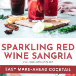Sparkling Red Wine Sangria. Celebrate any occasion with this festive Sparkling Red Wine Sangria, made with fresh cut oranges, apples, red wine, and more! This festive fruit-infused Sparkling Sangria is an easy make-ahead cocktail that is perfect for large and small gatherings.