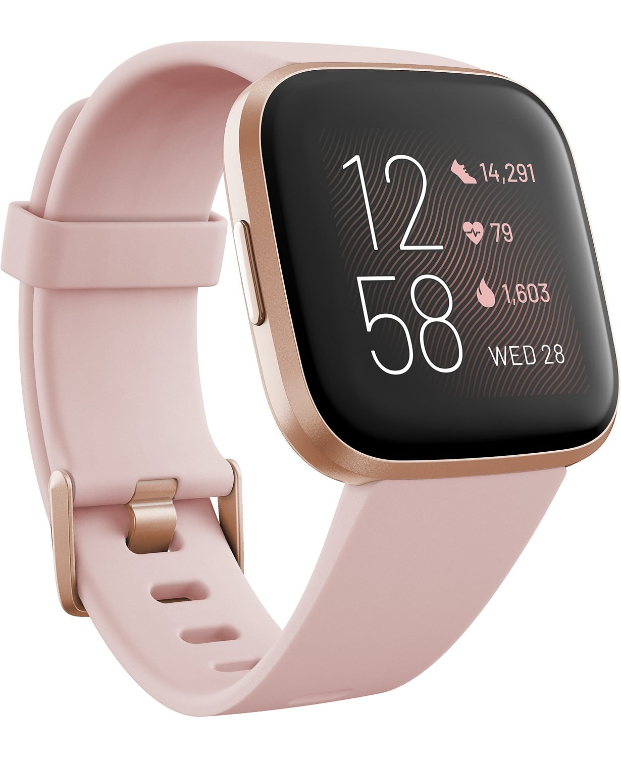The ideal assistant and coach, this streamlined rose-colored New Versa 2 from Fitbit with Amazon Alexa Built-in is equipped with nuanced technology that gives insight to your physical wellbeing while offering seamless connectivity and convenience.
