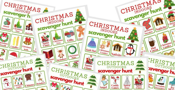 What can make the Christmas season even more festive? A Christmas Scavenger Hunt, of course! This free printable comes with both an indoor and outdoor scavenger hunt version.